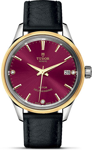 Tudor Watches - Style 34 mm - Steel and Gold - Double Bezel - Leather Strap - Style No: M12303-0016