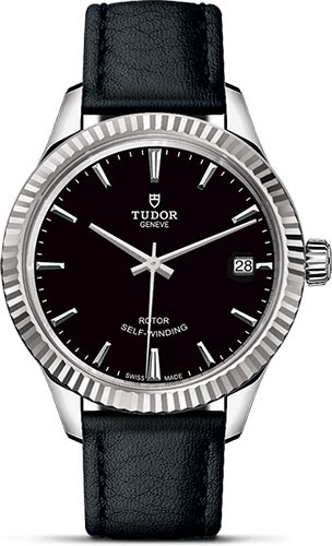 Tudor Watches - Style 34 mm - Steel - Fluted Bezel - Leather Strap - Style No: M12310-0022