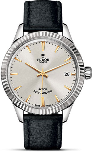 Tudor Watches - Style 34 mm - Steel - Fluted Bezel - Leather Strap - Style No: M12310-0023