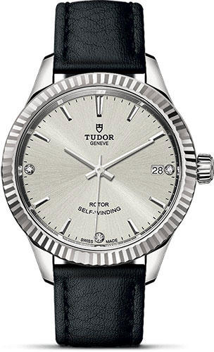 Tudor Watches - Style 34 mm - Steel - Fluted Bezel - Leather Strap - Style No: M12310-0024