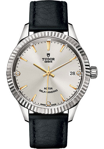 Tudor Watches - Style 34 mm - Steel - Fluted Bezel - Leather Strap - Style No: M12310-0026