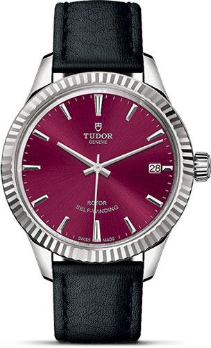 Tudor Watches - Style 34 mm - Steel - Fluted Bezel - Leather Strap - Style No: M12310-0028