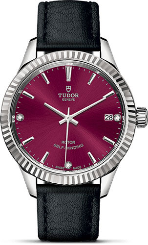 Tudor Watches - Style 34 mm - Steel - Fluted Bezel - Leather Strap - Style No: M12310-0030