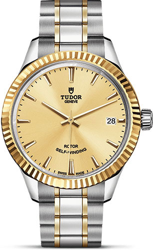 Tudor Watches - Style 34 mm - Steel and Gold - Fluted Bezel - Bracelet - Style No: M12313-0001