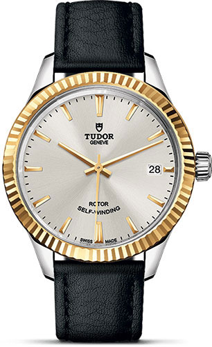 Tudor Watches - Style 34 mm - Steel and Gold - Fluted Bezel - Leather Strap - Style No: M12313-0018