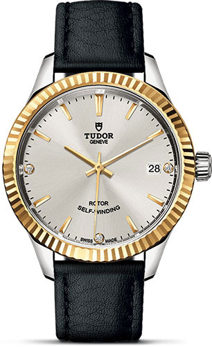 Tudor Watches - Style 34 mm - Steel and Gold - Fluted Bezel - Leather Strap - Style No: M12313-0021