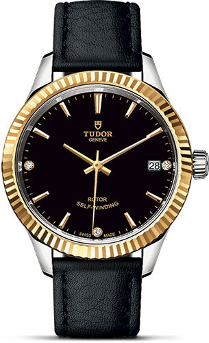 Tudor Watches - Style 34 mm - Steel and Gold - Fluted Bezel - Leather Strap - Style No: M12313-0022