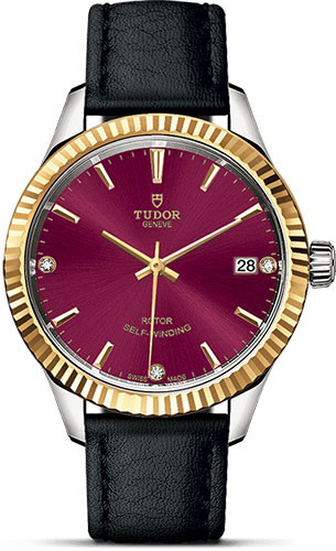 Tudor Watches - Style 34 mm - Steel and Gold - Fluted Bezel - Leather Strap - Style No: M12313-0024