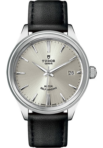 Tudor Watches - Style 38 mm - Steel - Double Bezel - Leather Strap - Style No: M12500-0005