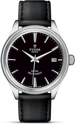 Tudor Watches - Style 38 mm - Steel - Double Bezel - Leather Strap - Style No: M12500-0006