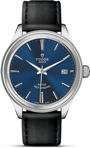 Tudor Watches - Style 38 mm - Steel - Double Bezel - Leather Strap - Style No: M12500-0010