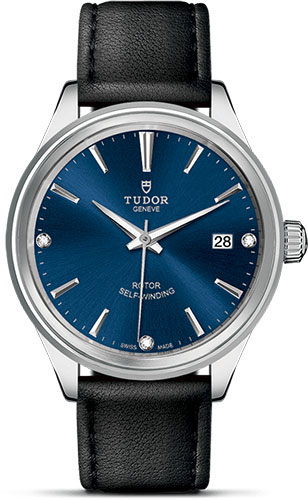 Tudor Watches - Style 38 mm - Steel - Double Bezel - Leather Strap - Style No: M12500-0014