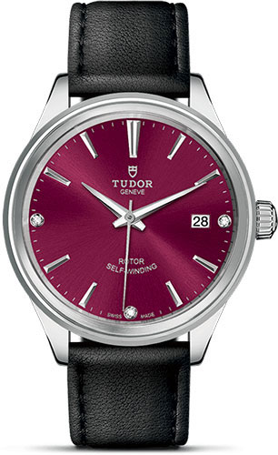 Tudor Watches - Style 38 mm - Steel - Double Bezel - Leather Strap - Style No: M12500-0016