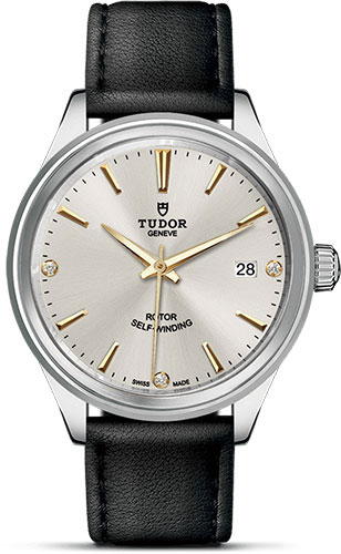 Tudor Watches - Style 38 mm - Steel - Double Bezel - Leather Strap - Style No: M12500-0020
