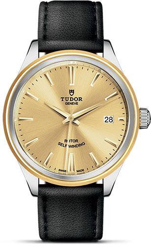 Tudor Watches - Style 38 mm - Steel and Gold - Double Bezel - Leather Strap - Style No: M12503-0007