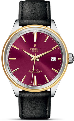 Tudor Watches - Style 38 mm - Steel and Gold - Double Bezel - Leather Strap - Style No: M12503-0014