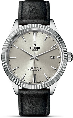 Tudor Watches - Style 38 mm - Steel - Fluted Bezel - Leather Strap - Style No: M12510-0021