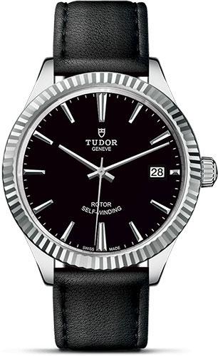 Tudor Watches - Style 38 mm - Steel - Fluted Bezel - Leather Strap - Style No: M12510-0022