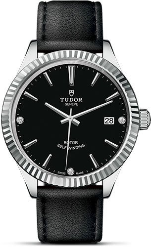 Tudor Watches - Style 38 mm - Steel - Fluted Bezel - Leather Strap - Style No: M12510-0025