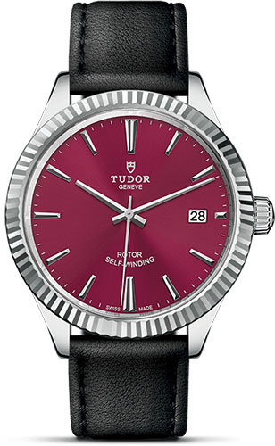 Tudor Watches - Style 38 mm - Steel - Fluted Bezel - Leather Strap - Style No: M12510-0028