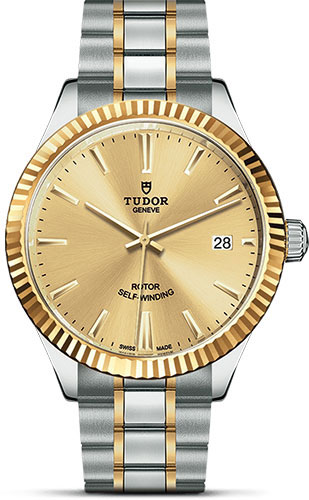 Tudor Watches - Style 38 mm - Steel and Gold - Fluted Bezel - Bracelet - Style No: M12513-0001