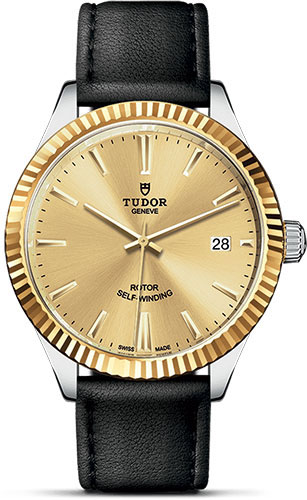 Tudor Watches - Style 38 mm - Steel and Gold - Fluted Bezel - Leather Strap - Style No: M12513-0017