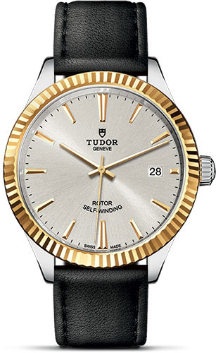 Tudor Watches - Style 38 mm - Steel and Gold - Fluted Bezel - Leather Strap - Style No: M12513-0018
