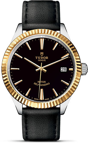 Tudor Watches - Style 38 mm - Steel and Gold - Fluted Bezel - Leather Strap - Style No: M12513-0019
