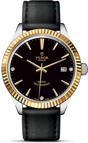 Tudor Watches - Style 38 mm - Steel and Gold - Fluted Bezel - Leather Strap - Style No: M12513-0022