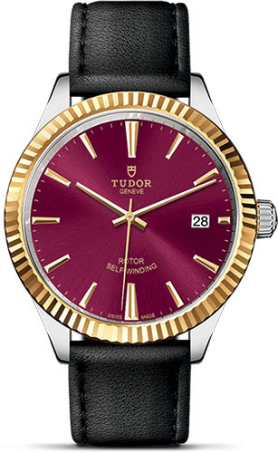 Tudor Watches - Style 38 mm - Steel and Gold - Fluted Bezel - Leather Strap - Style No: M12513-0023