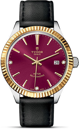 Tudor Watches - Style 38 mm - Steel and Gold - Fluted Bezel - Leather Strap - Style No: M12513-0024