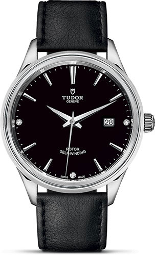 Tudor Watches - Style 41 mm - Steel - Double Bezel - Leather Strap - Style No: M12700-0008