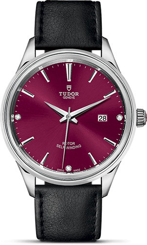Tudor Watches - Style 41 mm - Steel - Double Bezel - Leather Strap - Style No: M12700-0016