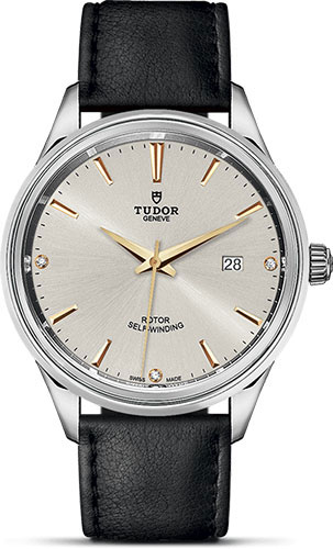 Tudor Watches - Style 41 mm - Steel - Double Bezel - Leather Strap - Style No: M12700-0020