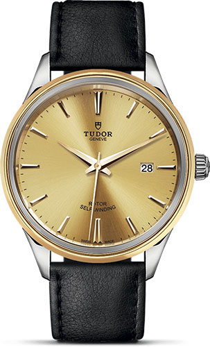 Tudor Watches - Style 41 mm - Steel and Gold - Double Bezel - Leather Strap - Style No: M12703-0007