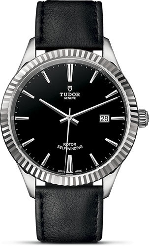 Tudor Watches - Style 41 mm - Steel - Fluted Bezel - Leather Strap - Style No: M12710-0022