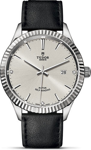 Tudor Watches - Style 41 mm - Steel - Fluted Bezel - Leather Strap - Style No: M12710-0024