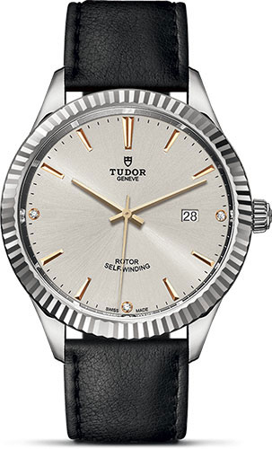 Tudor Watches - Style 41 mm - Steel - Fluted Bezel - Leather Strap - Style No: M12710-0026