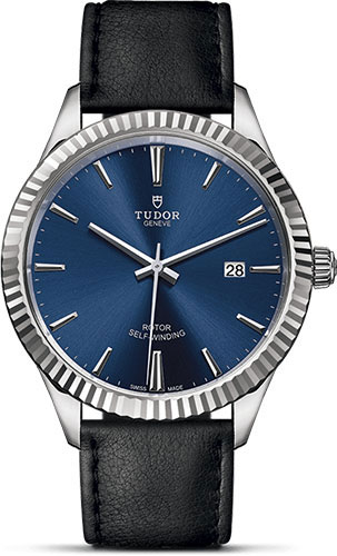 Tudor Watches - Style 41 mm - Steel - Fluted Bezel - Leather Strap - Style No: M12710-0027