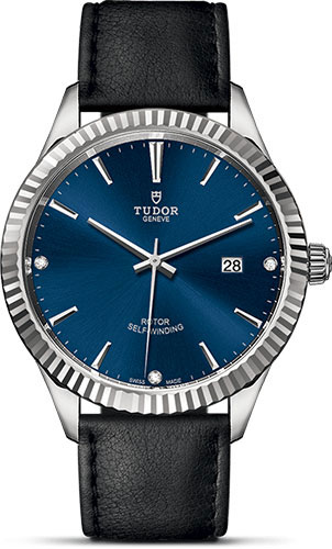 Tudor Watches - Style 41 mm - Steel - Fluted Bezel - Leather Strap - Style No: M12710-0029