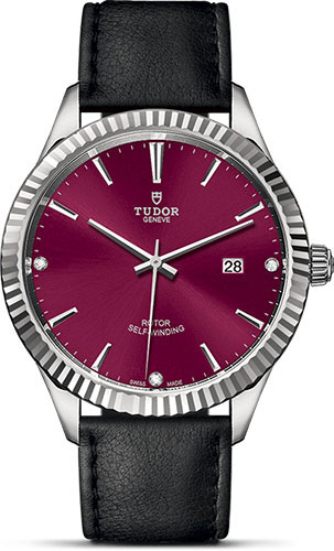 Tudor Watches - Style 41 mm - Steel - Fluted Bezel - Leather Strap - Style No: M12710-0030