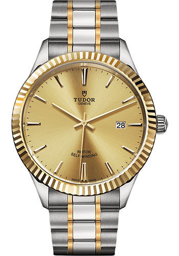 Tudor Watches - Style 41 mm - Steel and Gold - Fluted Bezel - Bracelet - Style No: M12713-0001