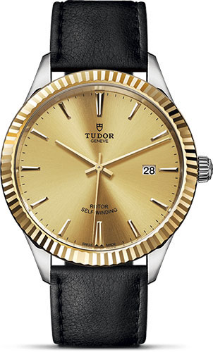 Tudor Watches - Style 41 mm - Steel and Gold - Fluted Bezel - Leather Strap - Style No: M12713-0017