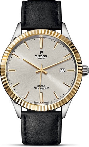 Tudor Watches - Style 41 mm - Steel and Gold - Fluted Bezel - Leather Strap - Style No: M12713-0018
