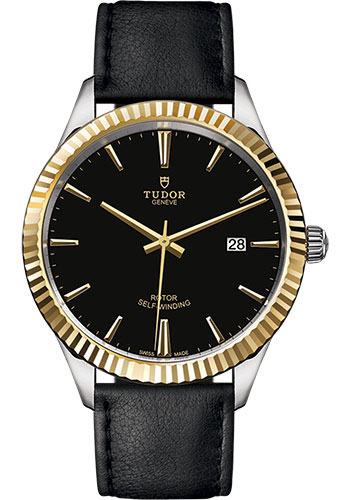 Tudor Watches - Style 41 mm - Steel and Gold - Fluted Bezel - Leather Strap - Style No: M12713-0019
