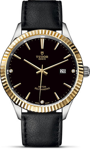 Tudor Watches - Style 41 mm - Steel and Gold - Fluted Bezel - Leather Strap - Style No: M12713-0022
