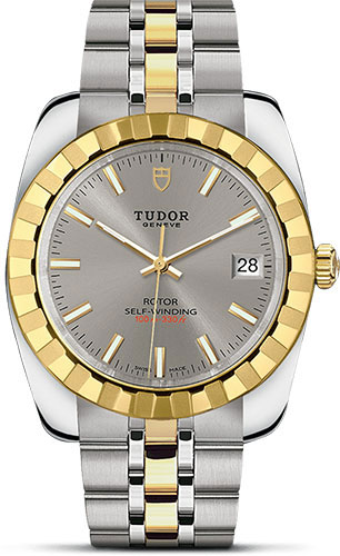 Tudor Watches - Classic Date 38 mm - Steel and Yellow Gold - Fluted Bezel - Style No: M21013-0001