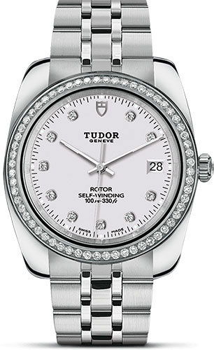 Tudor Watches - Classic Date 38 mm - Steel - Diamond Bezel - Style No: M21020-0001