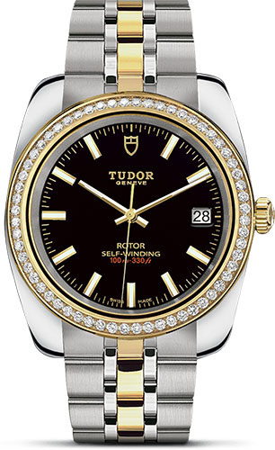 Tudor Watches - Classic Date 38 mm - Steel and Yellow Gold- Diamond Bezel - Style No: M21023-0001