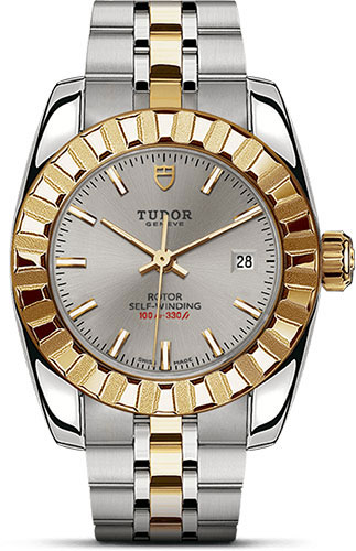 Tudor Watches - Classic Date 28 mm - Steel and Yellow Gold- Fluted Bezel - Style No: M22013-0001